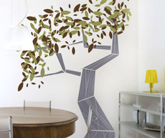 Modern Tree Wall Decal With Style Accents