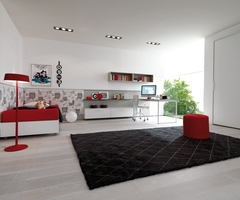 13 Bright And Cool Teen Room Decors From Italian Company Zalf: White Teen Room Design With Red Furniture