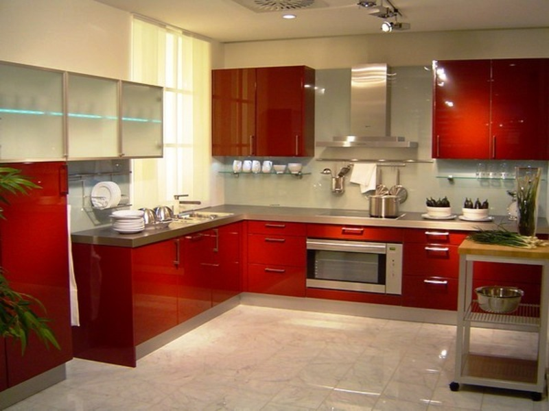 Modern kitchen decorating with red color picture finding for Red kitchen decor