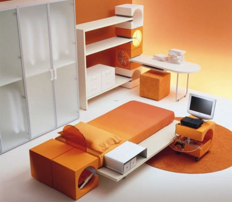 Japanese style modern kids bedroom furniture set in orange - Modern japanese bedroom furniture ...