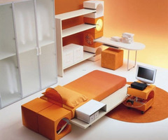 Japanese Style Modern Kids Bedroom Furniture Set In Orange Color