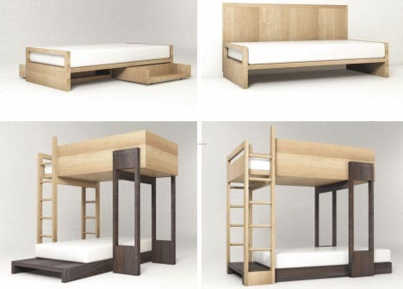 Kids Bunk Bed Loft Design, Simple Modular Wooden Bunk Beds To Stack Or Stagger