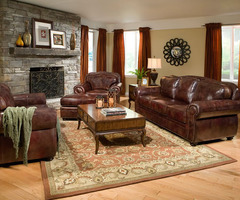 Classic Leather Sofa Couch Set Living Room Furniture