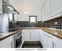Modern Kitchen With Black Ceramic Tiles And Wooden Worktop Stock Photo 40583311 : Shutterstock
