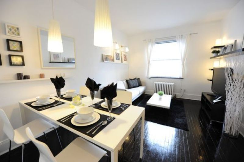 White Apartment Decoration, Black And White Dining Room Apartment Decor