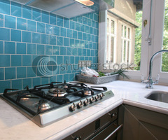 Modern Kitchen With Turquoise Tiles On Wall Looking Onto Garden Stock Photo 38848816 : Shutterstock