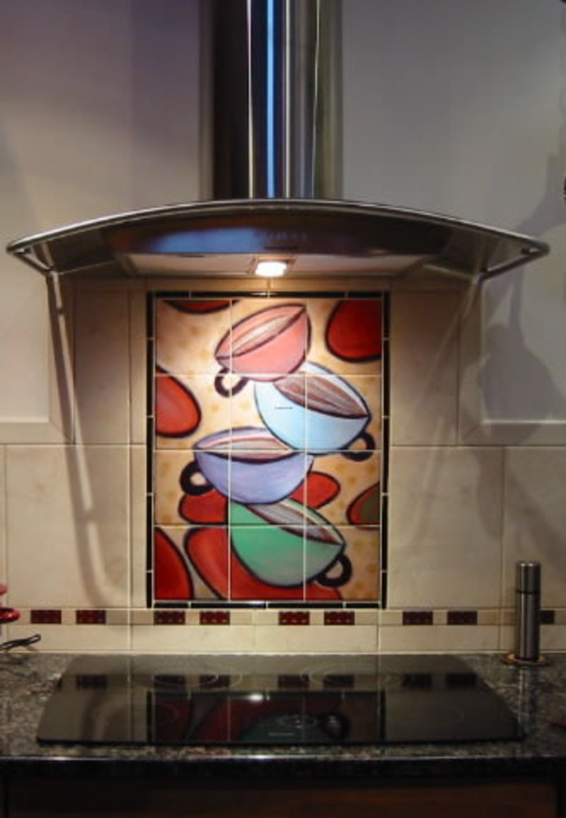 Examples of kitchen backsplashes kitchen tile murals for Contemporary mural