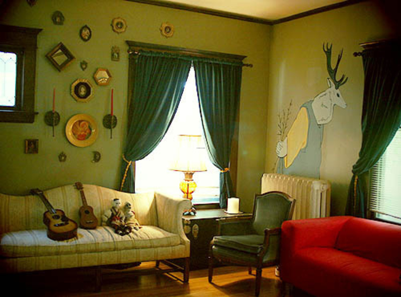 Paint ideas accenting a green living room design Ideas for painting rooms