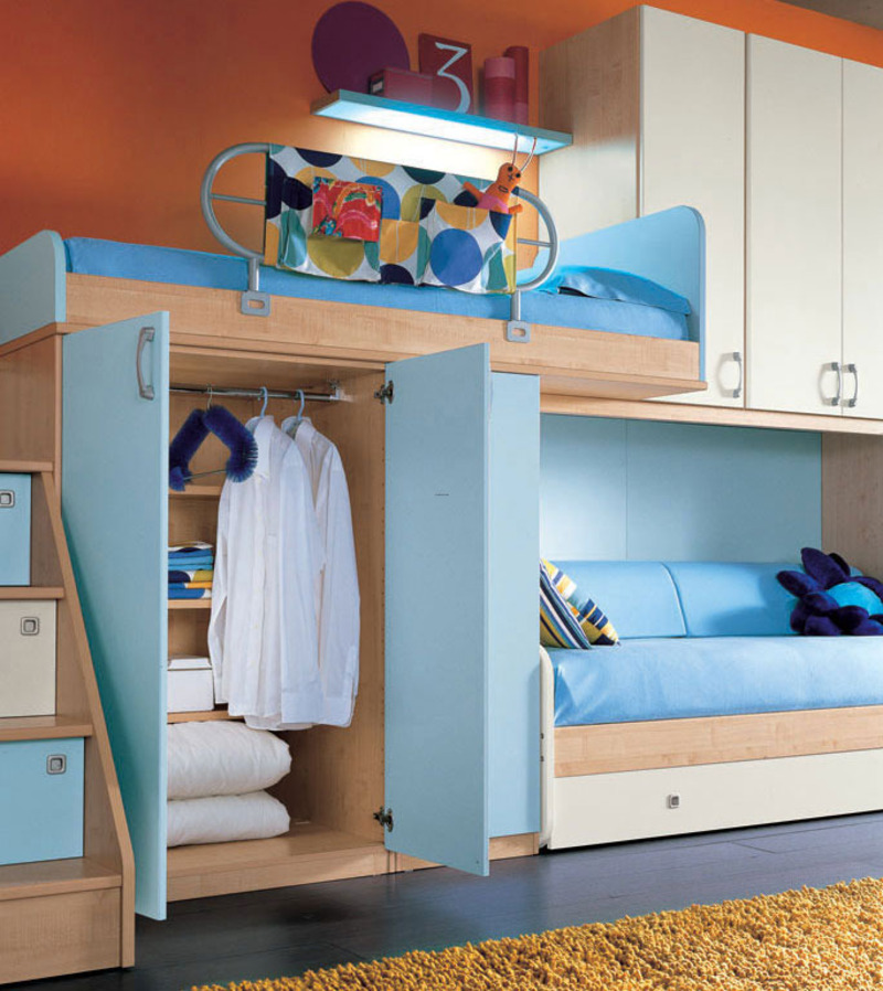 Cool Teen Bedroom Design Ideas 2011 Orange Wall And Sea Blue Color Bunk Beds Furniture Design