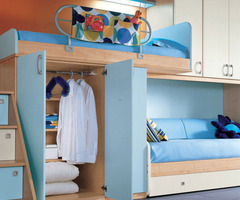 Cool Teen Bedroom Design Ideas 2011: Orange Wall And Sea Blue Color Bunk Beds Furniture
