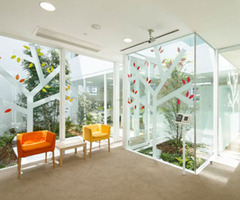 Modern Sugamo Shinkin Bank Office Design With Interior Leaf Motif
