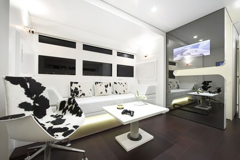 Mobile Home With Modern And Contemporary Interior Designs Elegant Living Room Mansion On Wheels