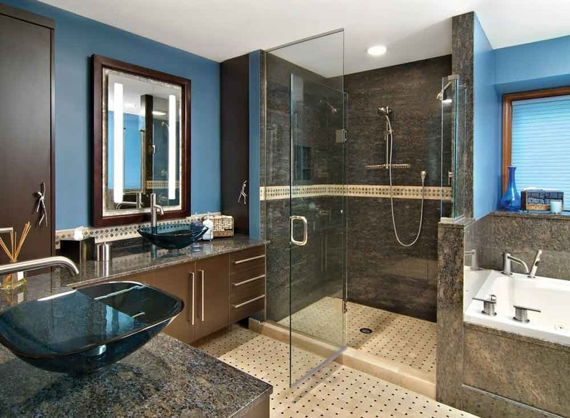 His and her master bathroom blue design bookmark 14895 for Blue and brown bathroom designs