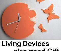 New Bedroom Butterfly Wall Clock Time Flying Orange For Sale