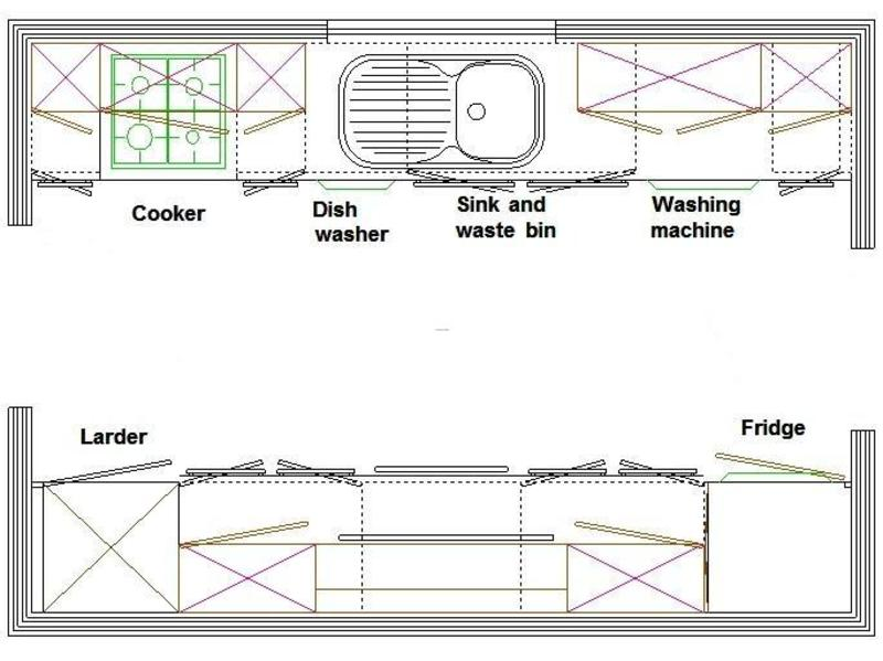 Galley Kitchen Layout Design Bookmark 15026