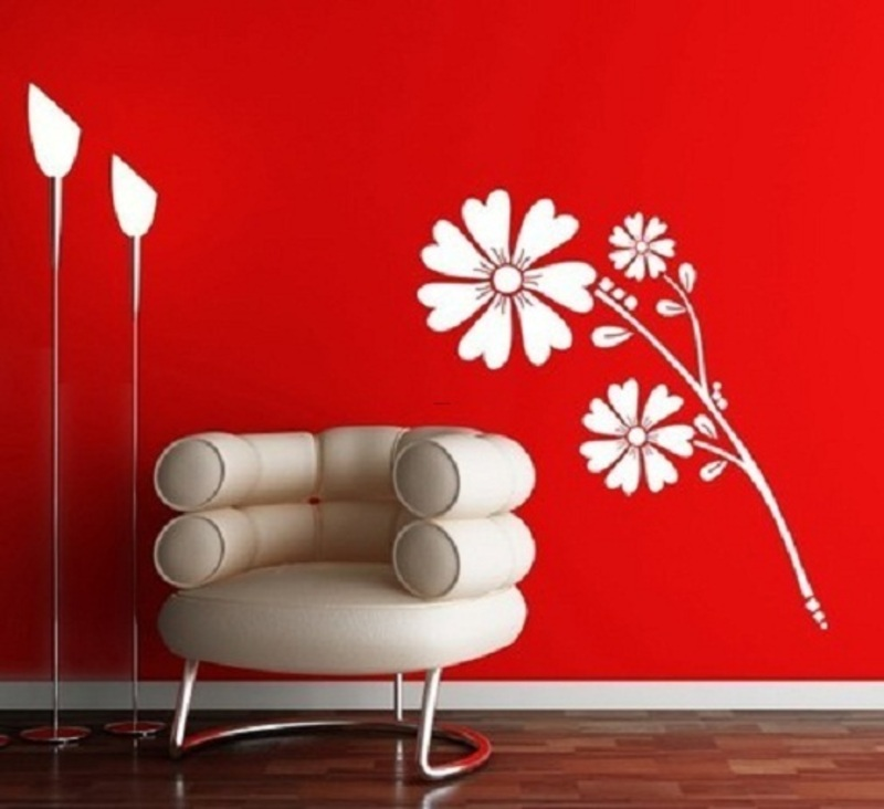 Red Wall Paint Amazing With Wall Painting Design Photo