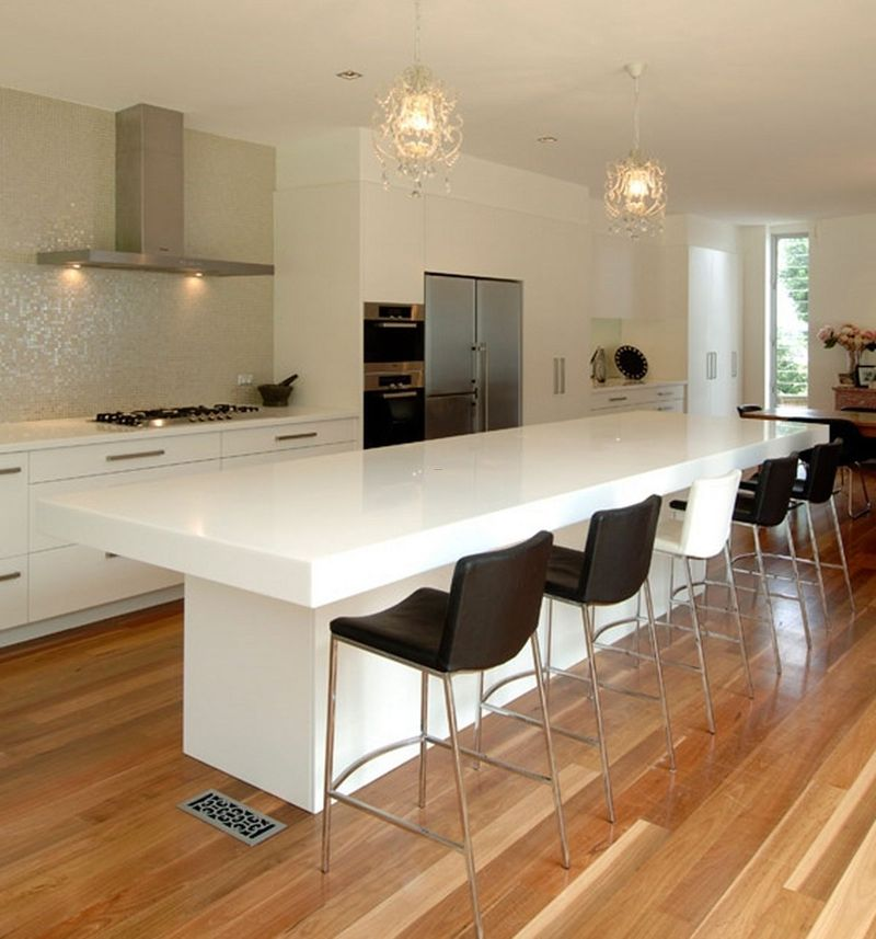 Contemporary kitchen counter and breakfast bar design by - Cocinas con barra ...