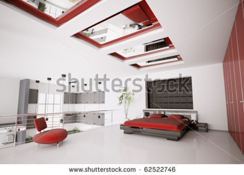 Red And Black Bedroom, Interior Of Modern White Red Black Bedroom 3d Render Stock Photo 62522746 : Shutterstock