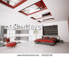 Interior Of Modern White Red Black Bedroom 3d Render Stock Photo 62522746 : Shutterstock