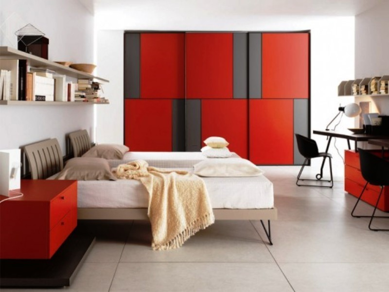 Red And Black Teen Bedroom, Awesome Impressive Red And Black Teen'S Room