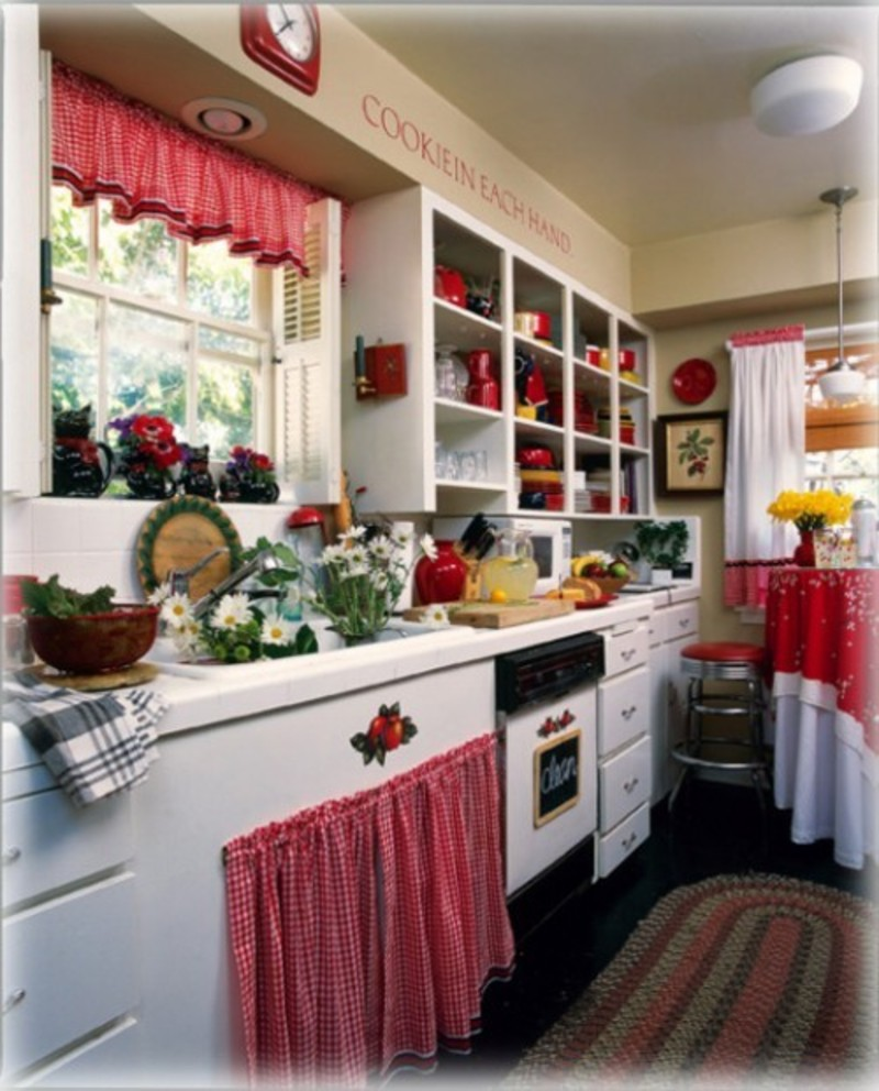 Country Red Kitchen Curtains: Interior And Decorating Idea For Red Kitchen Themes / Design Bookmark #15232