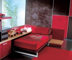 Exciting Red And Black Teen Bedroom Interior Decoration