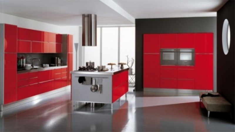 Red Kitchen Decorating Ideas, Retro Red And White Living Dining Room Kitchen Decorating Ideas
