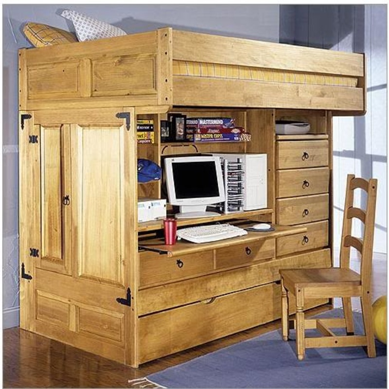 Kids Twin Bunk Bed With Desk, Rustic Bunk Beds For Kids