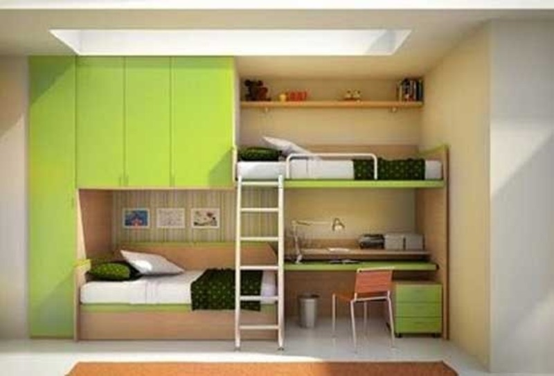 Kids Twin Bunk Bed With Desk, Youth Bedroom With Space Saving Bunk Bed
