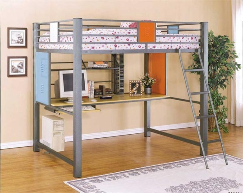Inspiration modern kids and teen furniture from metal beds for Modern bunk bed with desk