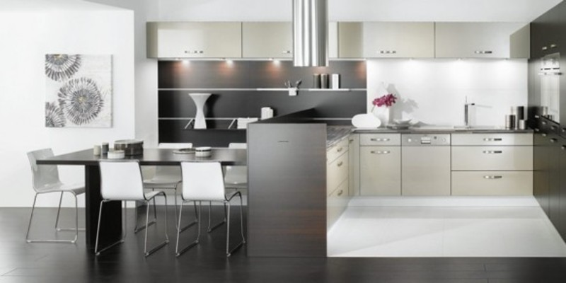 Black Kitchen Design, Living Rooms Combination With Dining And Kitchen Black