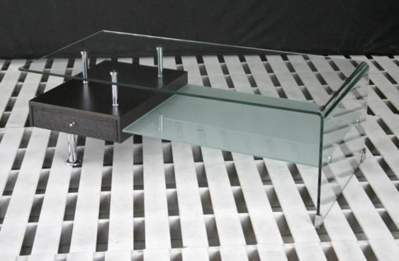 Modern Glass Table, Modern Office Furniture: Everward Modern Rectangular Glass Coffee Table