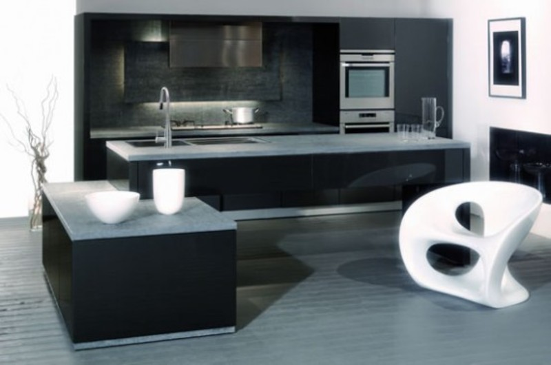 Black Kitchen Design, Ultra Modern Kitchen Design With Color Glossy Black And White