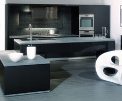 Ultra Modern Kitchen Design With Color Glossy Black And White