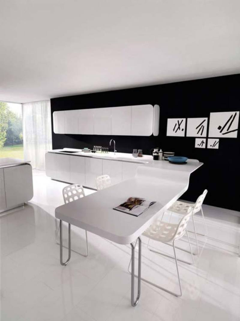 Kitchen Dining Design, Elegant Black And White Kitchen  Dining  Design Ideas