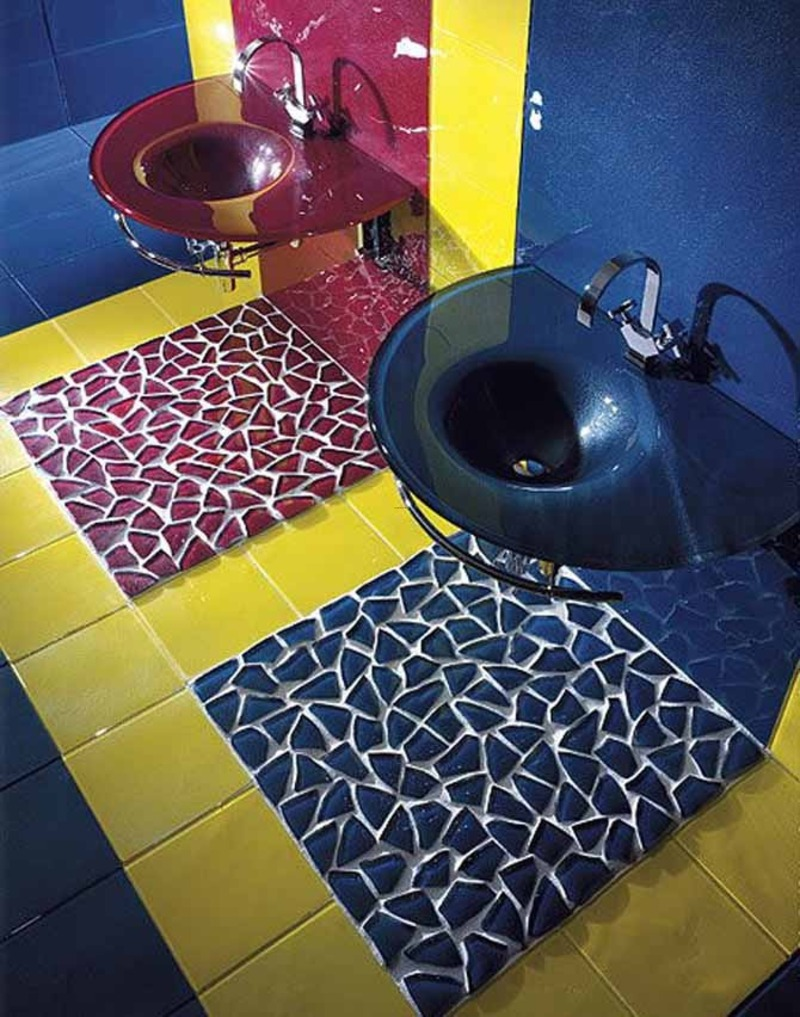 Flooring Design Ideas, Contemporary Bathroom Flooring Design Ideas Colorful Glass Tiles By Vetrocolor Home Design