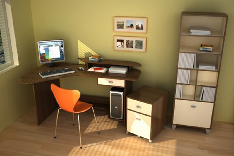 Small Office Design Ideas, Minimalist Corner Workspace For Small Office Design Idea