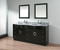 Two Sinks In Bathroom Interior