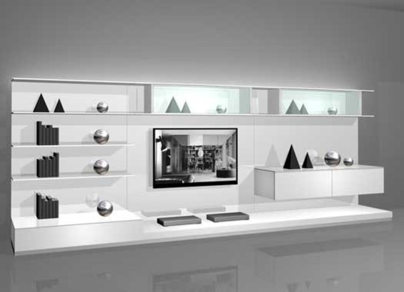 White Wall Mounted Modern Tv Cabinets For Small Living Room Design 2 By Rimadesio Design