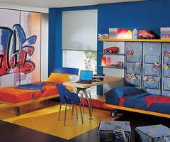 Kids Bed Rooms With Wardrobe Style Painted