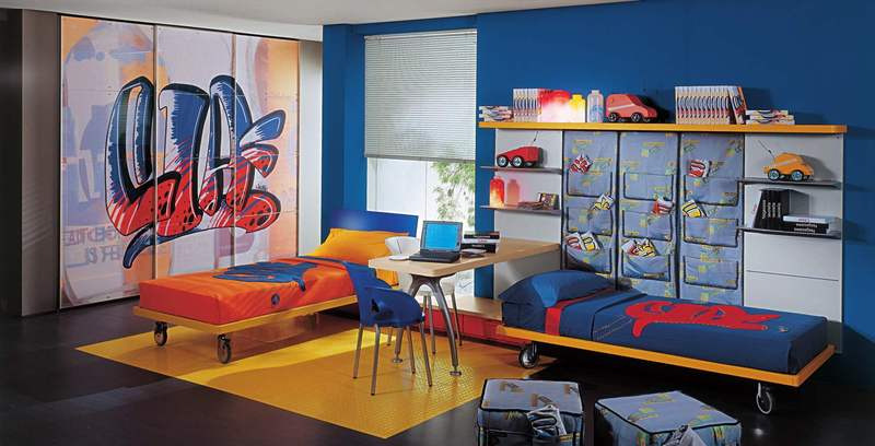 Wardrobe Designs For Kids, Kids Bed Rooms With Wardrobe Style Painted