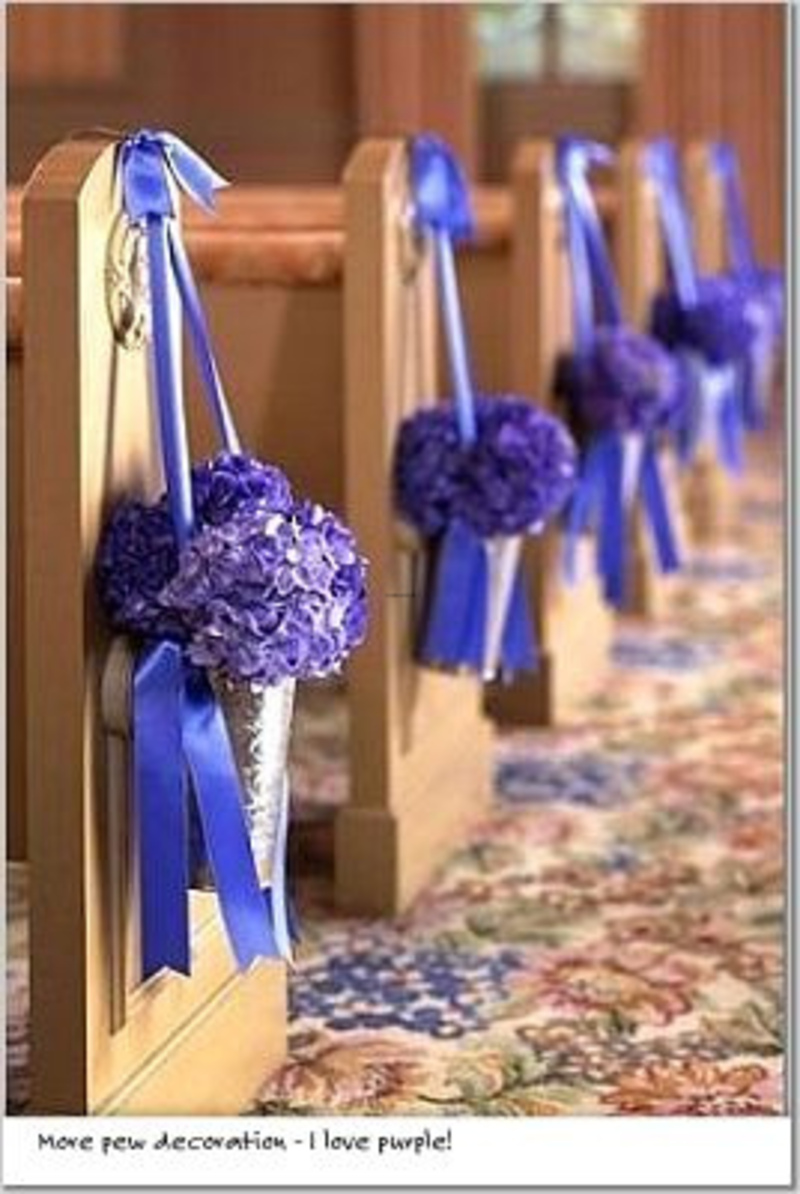 Purple Wedding Decorations, Church And Ceremony Pew Decorations
