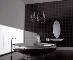 Modern Bathroom With Decorative String Ceramic Tiles Decorative