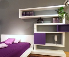 Calming White Purple Bedroom Design Interior