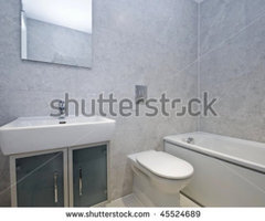 Modern Bathroom With White Porcelain Suite And Stone Imitation Tiles Stock Photo 45524689 : Shutterstock