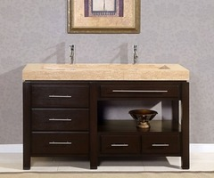 "Silkroad Exclusive 60"" Stanton Modern Bathroom Double Vanity Integrated Sink Cabinet"