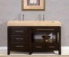 Silkroad Exclusive 60&quot; Stanton Modern Bathroom Double Vanity Integrated Sink Cabinet