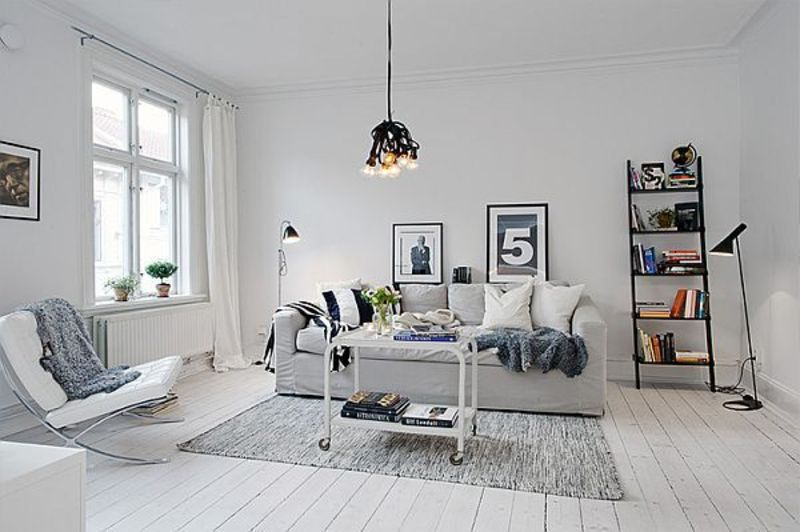 White Apartment Decoration, Inviting White Swedish Apartment With Vintage Fireplaces