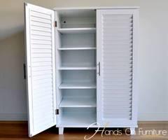Brand New White Louvre Door Shoe Storage Cabinet/Cupboard