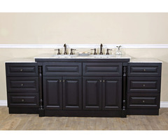 Bellaterra Home 605522 C Double Sink Bathroom Vanity, Dark Mahogany Finish